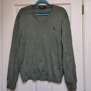 Polo Ralph Lauren Green V-Neck Pima Cotton Sweater
